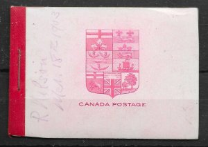 CANADA SGSB1 1900 25c RED ON PINK BOOKLET MINT - FAULTS