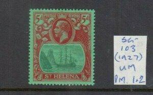 ST HELENA 1922 5D GREEN/CARMINE UNMOUNTED MINT SG104