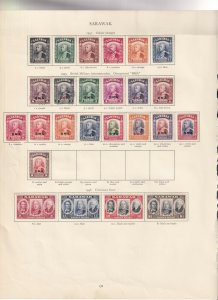 SARAWAK 1941/45 AND 46 VALUES CROWN ALBUM PAGE MINT/USED