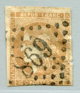 FRANCE #42 Fine Used Issue - FAULTS CLIPPED NOTCH WRINKLES - CERES - S7778