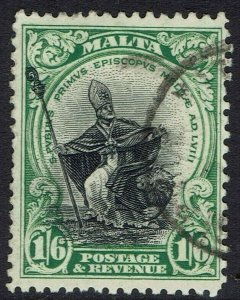 MALTA 1930 PICTORIAL 1/6 INSCRIBED POSTAGE & REVENUE USED