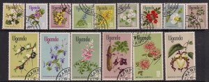 Uganda 1969-1974 QE2 Flowers x 14 used stamps SG 131a - 145a ( E1046 )