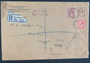 1928 Birmingham England Registered Cover To Buffalo NY Usa SS Olympia