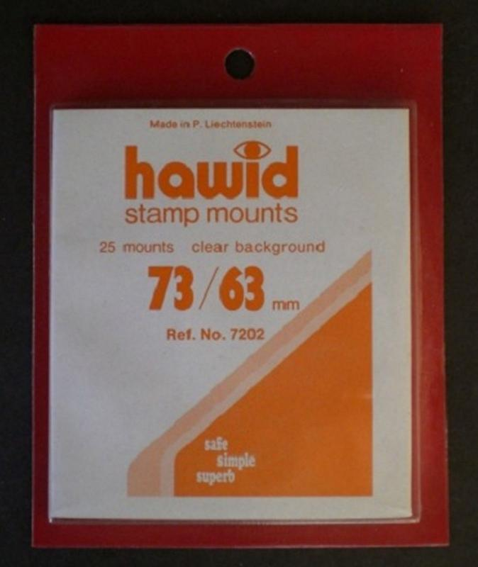 Hawid Stamp Mounts Size 73/63 CLEAR Background Pack of 25