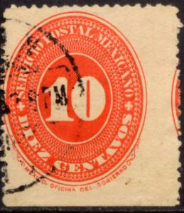 MEXICO 225 10cts LARGE NUMERAL WATERMARKED, USED. (141)