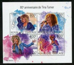TOGO 2019  80th ANNIVERSARY OF TINA TURNER SHEET MINT NH
