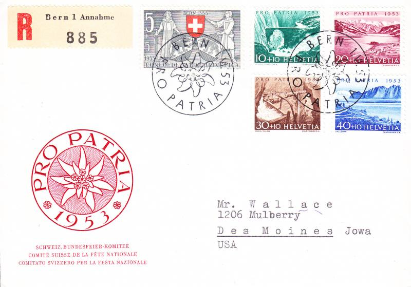 Switzerland 1953 Pro-Patria Registered FDC to U.S.A.  VF