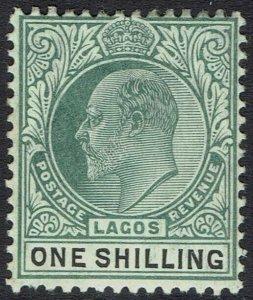LAGOS 1904 KEVII 1/- WMK MULTI CROWN CA