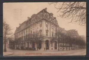France to NY 1934 Majestic-Hotel Picture Postcard with 90c Stamp F