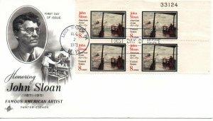 US FDC #1433 Sloan Plate Block, ArtCraft (0187)