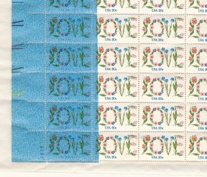 MAJOR ERROR: Dramatic Blue Ink Printing Flaw on 1982 LOVE Sheet.