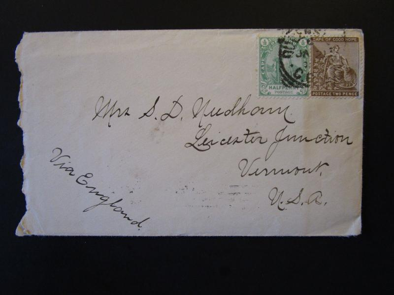 Cape of Good Hope 1901 Cover to USA w/ Enclosed Letter (II) - Z5353