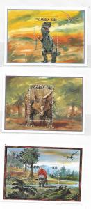 Gambia 1995 Dinosaurs 3 S/S MNH C3