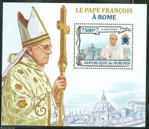 BURUNDI  2013 POPE FRANCIS  SOUVENIR SHEET  MINT NH
