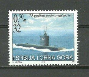 Serbia and Montenegro 2003 75 years of submarines set MNH