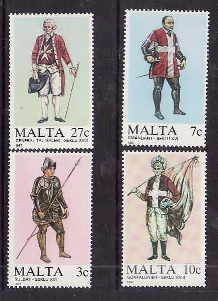 Malta-Sc#696-9- id5-unusedNH set-Military-Uniforms-1987-