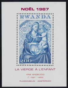 Rwanda 1301 MNH Christmas, Art, Virgin & Child, Fra Angelico