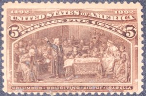 US #234 MNH Slight Gum Dist.  1893 5c Columbian Commemorative.