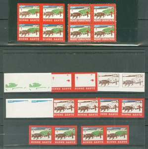 CINDERELLAS CHRISTMAS US 1947 IMPERFS & COLOR TRIALS...MNH