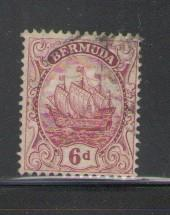 Bermuda Sc 47 1924 6d caravel stamp used