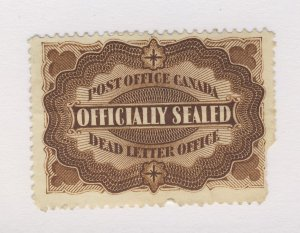 Canada Officially Sealed Stamp #OX1-Filler Piece off Guide Value = $100.00