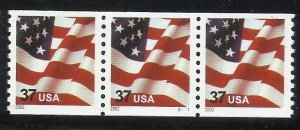 3631 37c Coil Pl#(S1111) Strip of 3 MNH F/VF Centering  