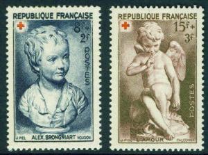 FRANCE Scott B255-256 MH* 1950 red cross Semi Postal set