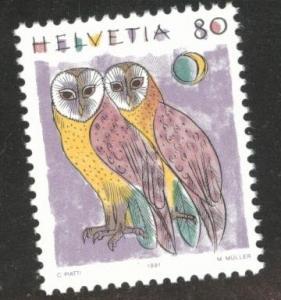 Switzerland Scott 873 MNH** Barn Owl bird stamp 1991 CV$1.10