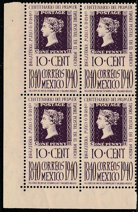 MEXICO 755, 10c Penny Black Centennial. Block of 4, MINT, NH. VF. (448)