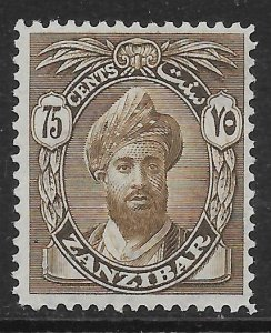 ZANZIBAR SG309 1927 75c SEPIA MTD MINT