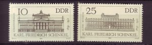 J25330 JLstamps 1981 germany DDR mnh set #2197-8 buildings