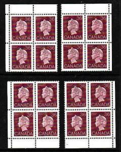 Canada id#12033-Sc#926A-set of 4 corner blocks-36c plum QEII-NH-1987-
