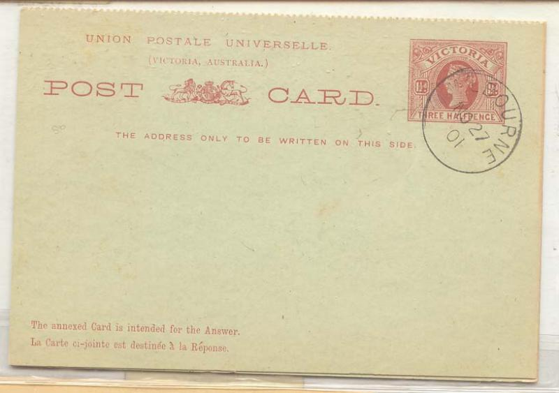 Australia Victoria #20 stationary msg + reply card cancelled