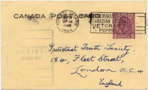 Canada to England - 1948 3c Postal Stat. Card w Slogan