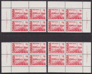 Canada Sc 465B MNH. 1967-71 $1 Edmonton Oil Fields, Matched No. 1 Plate Blocks
