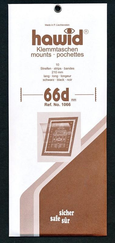 Hawid Stamp Mount Size 66/210 mm - BLACK (Pack of 10) (66x210 66mm)  STRIP  1066
