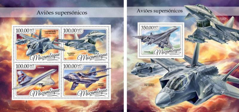Mozambique Supersonic Aviation Planes Concorde MNH stamp set