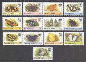 Swaziland Scott 506/518 - SG516/528, 1987 Butterflies Set MNH**