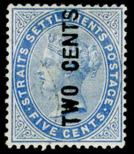 MALAYSIA - Straits Settlements SG77, 2c on 5c blue, FINE USED. Cat £150.