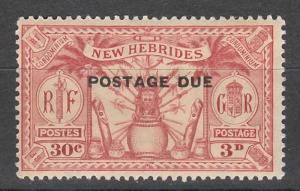NEW HEBRIDES 1925 POSTAGE DUE 30C /3D