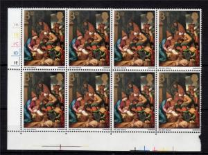 3d CHRISTMAS 1967 UNMOUNTED MINT CYLINDER BLOCK OF 8 PHOSPHOR PRINTED DOUBLE