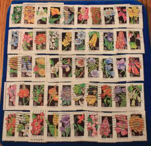 USA COMPLETE USED SET OF 50 WILDFLOWERS SCOTT # 2647 - 2696 ISSUE 1992