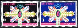 Kuwait 616-617, MNH. World Population Year. Emblem, 1974