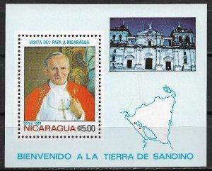 1983 Nicaragua #1229  Visit of Pope John Paul II MNH S/S