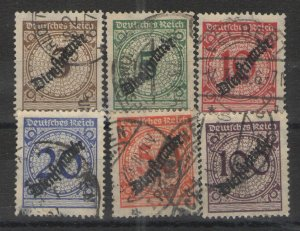 Germany - Inflation Era 1923 Sc# O47-O52 Used G/VG - 1923 Official issues