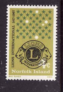 Norfolk Is.-Sc#114-Unused hinged set-Lion's International-1967-