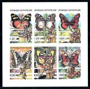 [77257] Central African Rep. 1990 Scouting Butterflies Imperf. Mini Sheet MNH