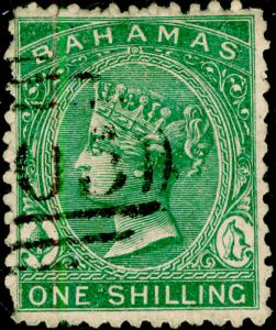 BAHAMAS SG38, 1s green, USED. Cat £300. PERF 12½CC.
