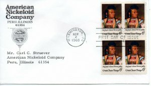 US FDC #1364 American Indian Block, American Nickeloid Company (9133)