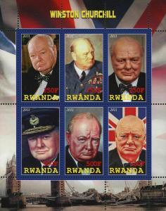 Rwanda Winston Churchill President British Souvenir Sheet of 6 Stamps Mint NH